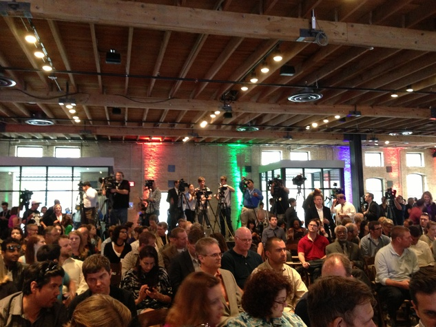 Press gathers for announcement from Google press conference in Austin