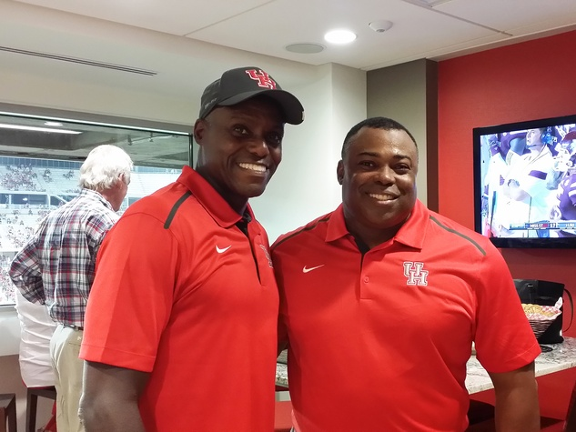 News, Shelby, UH Stadium Suite Life, Sept. 2014, Carl Lewis, Leroy Burrell