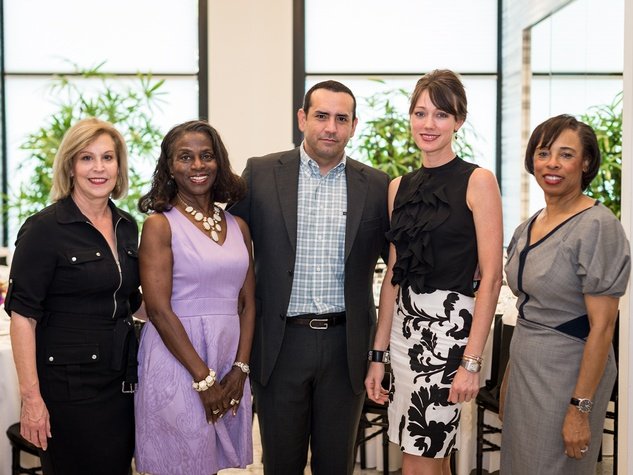5 Doe Florsheim, from left, Clarease Yates, Carlos Blandino, Leslie Sharp and Phyllis Williams at the Foundation for Teen Health Tootsies luncheon September 2014