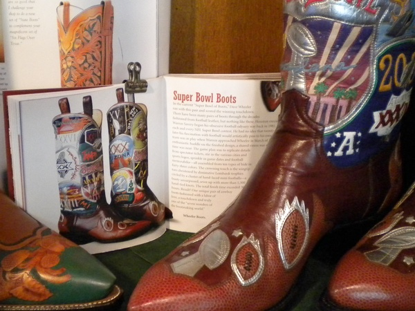 News_Caroline_custom boots_Wheeler Boot Co._Super Bowl boots