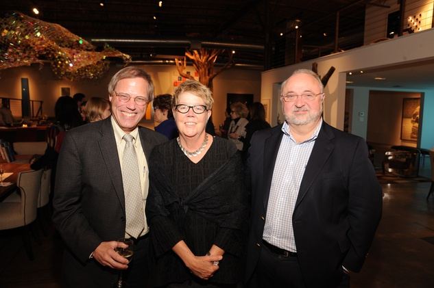 6 7197 Stephen Klineberg, from left, Pat Jasper and David Lake at the reception for Jamie Bennett November 2014