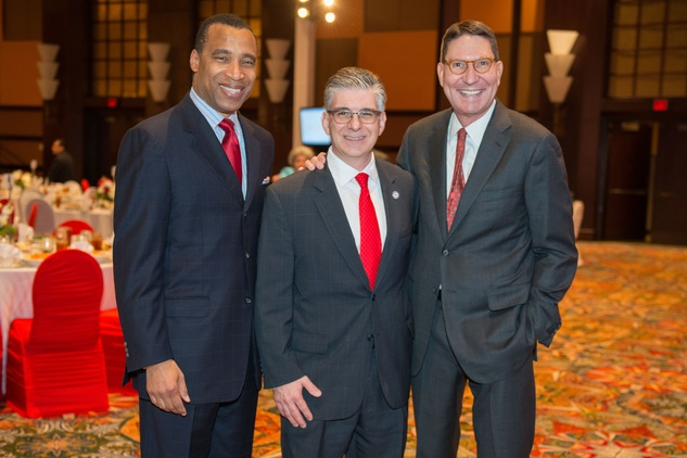 News, Shelby, Red Cross Luncheon, Feb. 2015, Len cannon Steve Vetrano, Scott McClelland