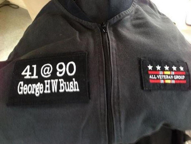 George H.W. Bush skydive suit