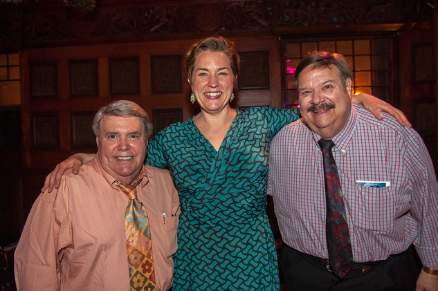 Barry Narlines, from left, Melody Moore and Dr. Ron Pototsky HGO The Passenger party in NYC July 2014