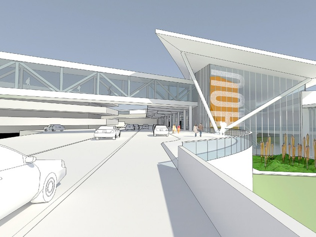Hobby Airport Southwest Airlines new international hub rendering vehicle approach
