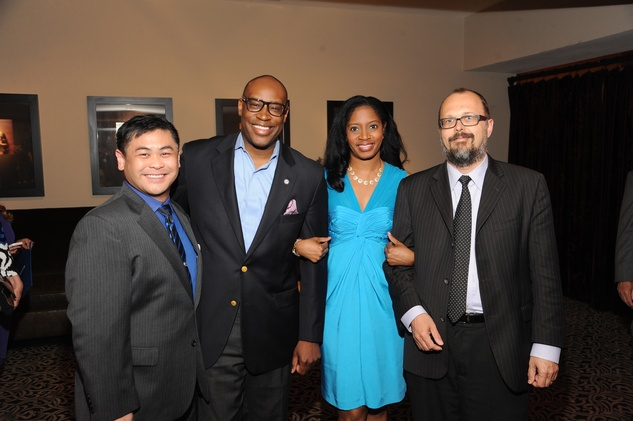 Sixto Wagan, from left, Larry Green, Shannon Buggs and Rex Koontz at the Houston Arts Alliance event with Rita Moreno May 2014