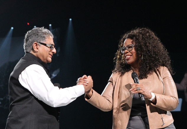 "Oprah Winfrey with Deepak Chopra on stage during ""Oprah's The Life You Want Weekend"""