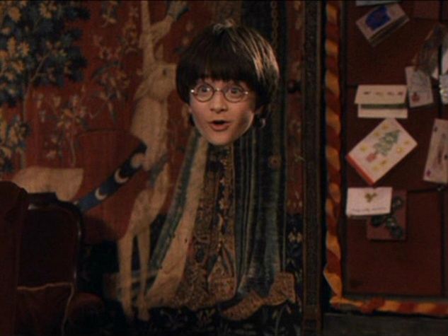Harry Potter wearing invisibility cloak from the first movie