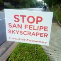 Stop San Felipe Skyscraper 2229 San Felipe sign October 2013