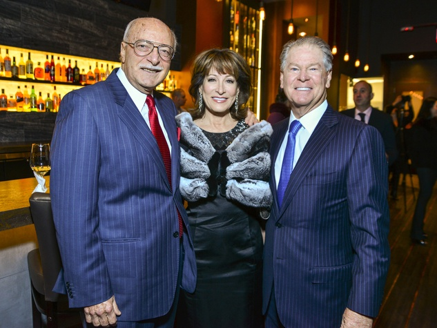 1 Shafik Rifaat, from left, Janiece Longoria and Steve Lasher at Vallone's opening party November 2013