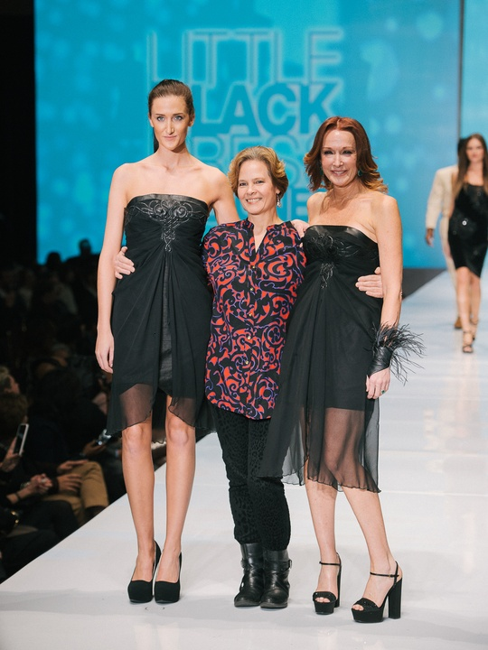 72 Fashion Houston Night 1 November 2014 Little Black Dress designer Judi Hallenbeck with muse Holly Waltrip, mentor Chloe Dao