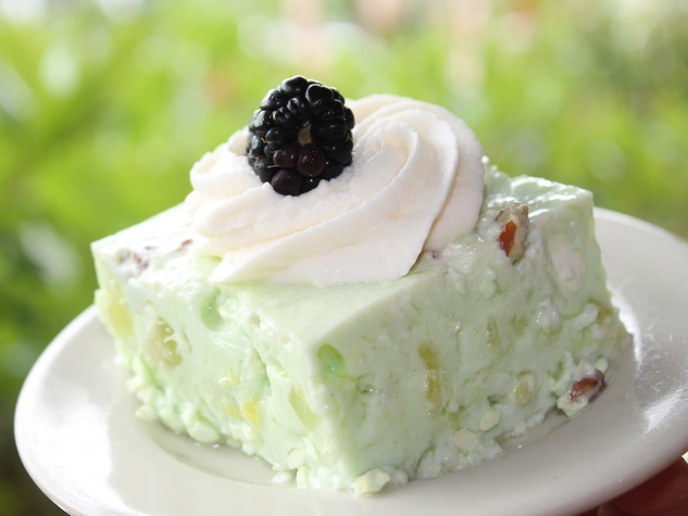 Lime Congeal whipped cream blackberries Luby's closeup