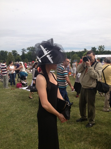 Janine Iannarelli postcards from Paris July 2013 airplane hat at the Prix de Diane