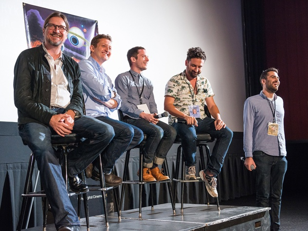 Cast and crew of Grand Piano with Don McManus, alex winter, eugenio mira and elijah wood q&a