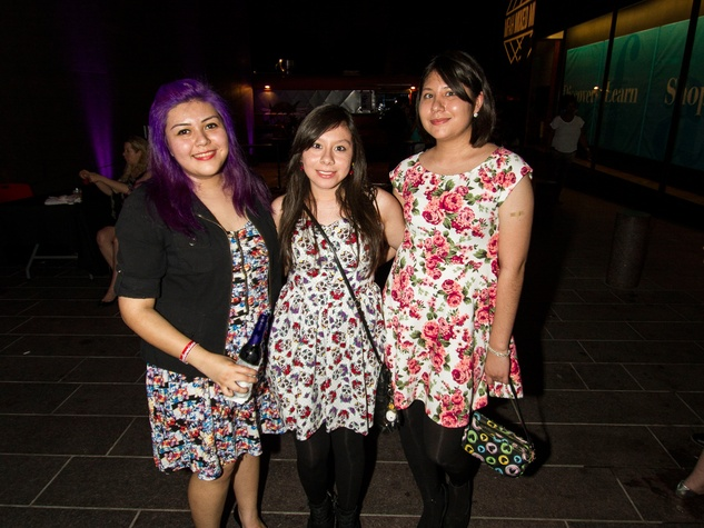 Ariseli Zaublo, from left, Debbie Marquez and Xochitle Zanudio at the MFAH Mixed Media Party June 2014