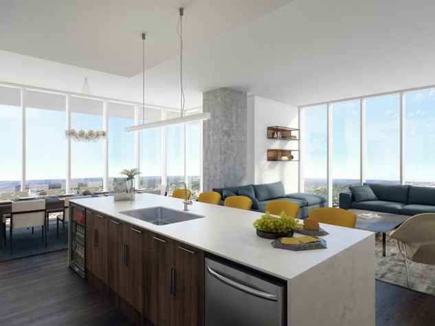 The Independent_downtown Austin condo_interior rendering_living dining room kitchen_2015