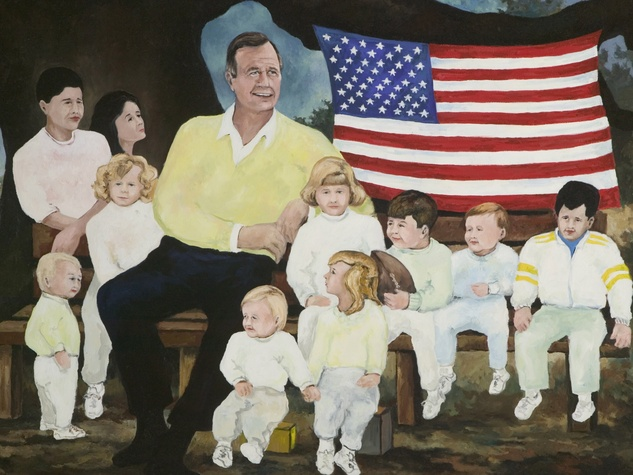 Houston, Rodrigue Exhibit at West Ave, June 2015, Portrait of President George Bush and grandchildren