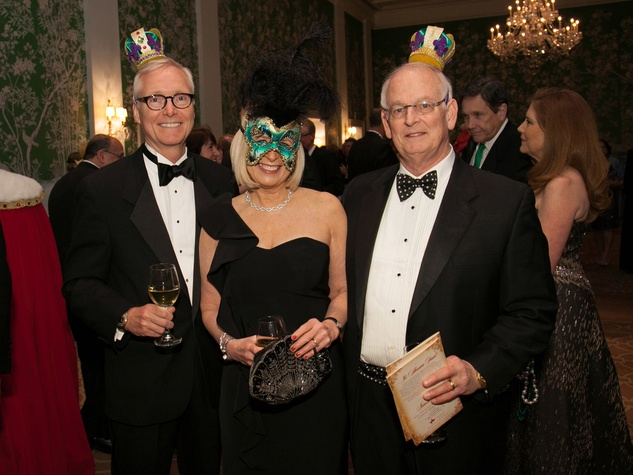 Doug Sandvig, from left, Margo Geddie and Bill LaFuze at the University of St. Thomas Mardi Gras March 2014