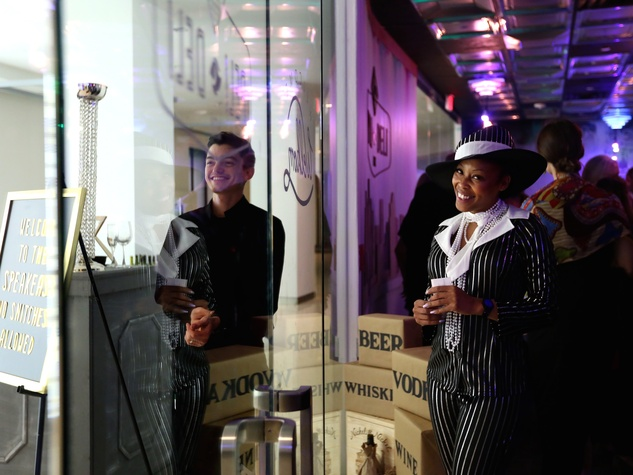 "LaToya Williams greets guests at the surprise speakeasy during the Ars Lyrica ""Roaring Twenties"" Gala"