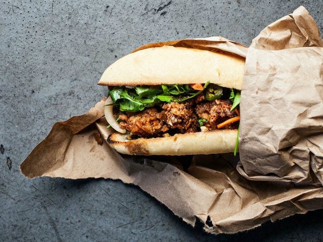 Fried chicken banh mi at Butcher and Bee in Charleston