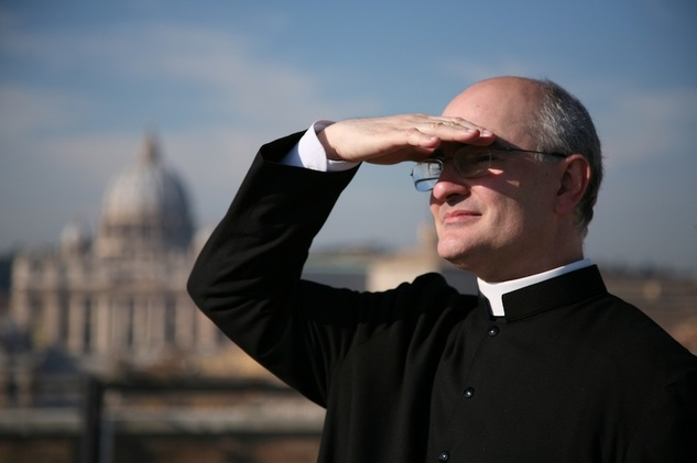 Fr. Fortea with the Vatican in the background, Rome