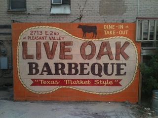 Live Oak Barbecue sign