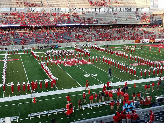 News, Shelby, UH Stadium Suite Life, Sept. 2014, band on field