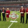 3 Super Bowl committee Texans vs. Eagles November 2014 James A. Baker III, from left, Ric Campo, Sallie Sargent, Bob McNair and Dave Lesar