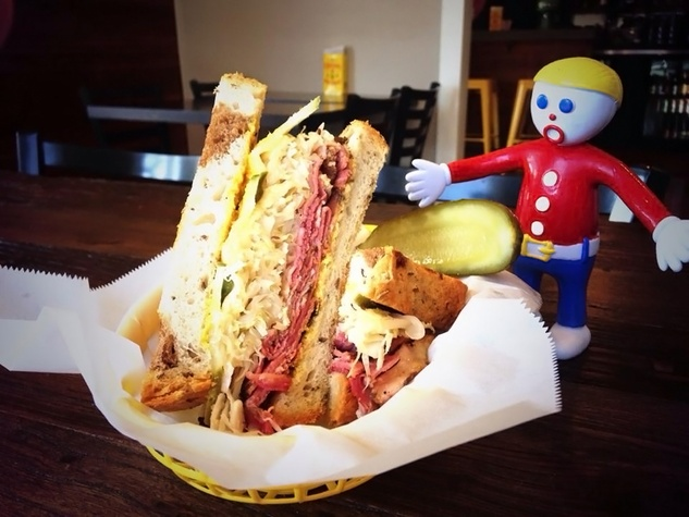 Good Dog Houston house-cured pastrami on marble rye with house kraut, swiss, mustard and dill sandwich January 2014