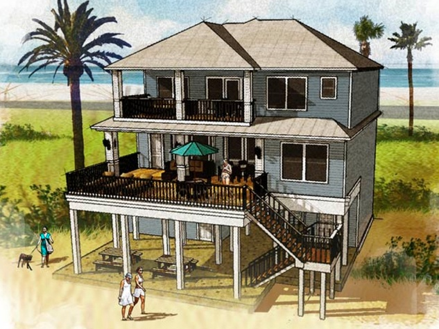 1 Seahorse Beach Club Galveston rendering back of house