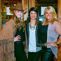 6655 Price DuBose, from left, Ashley Wright and Cody Tinney at the Cattle Baron Gentlemen's Committee party February 2015