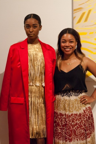 229 model Essence Berry, left, and designer Gabrielle Sauls at For the Sake of Art June 2014