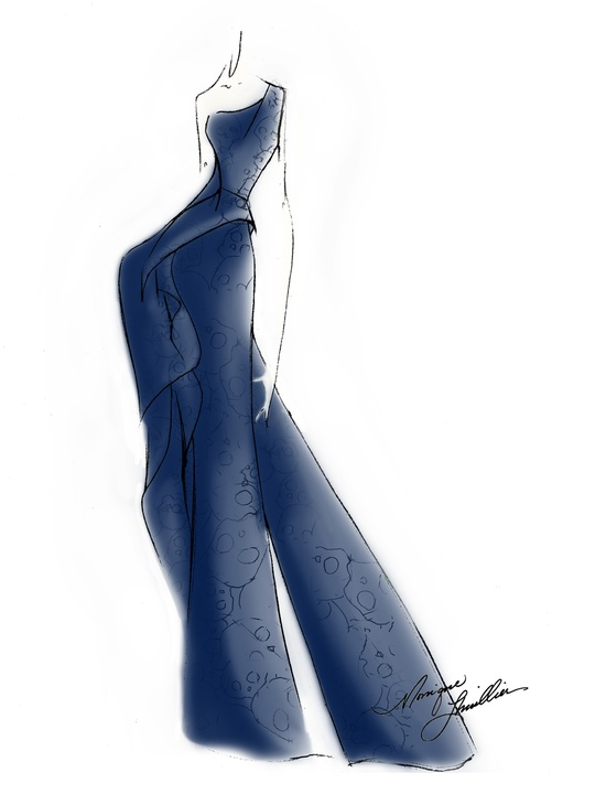 Designers' sketches fall 2014 collections Monique Lhuillier