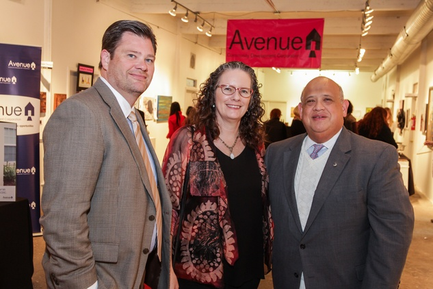 5 David Boerger, from left, Mary Lawler and Francisco Rivero at the Art on the Avenue benefit November 2014