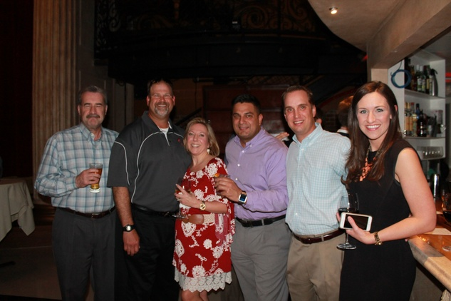 Steve Ferrell, from left, Mike and Zilah Miller, Manny Bonnila, Jeff Druskell and Leah Hanson at the Friends of St. Jude Spring Happy Hour March 2015