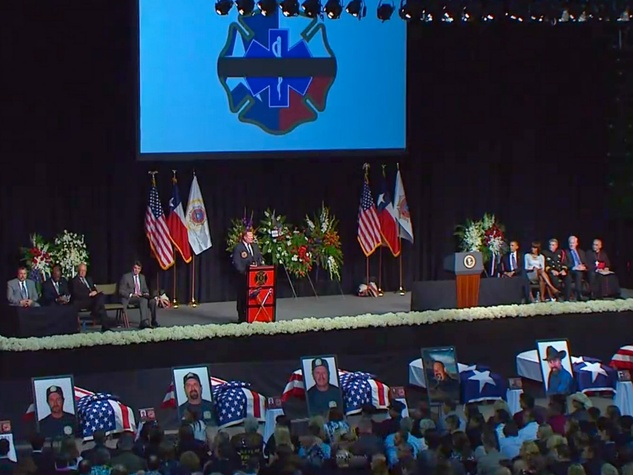 West, Texas, memorial service dude on stage Obamas