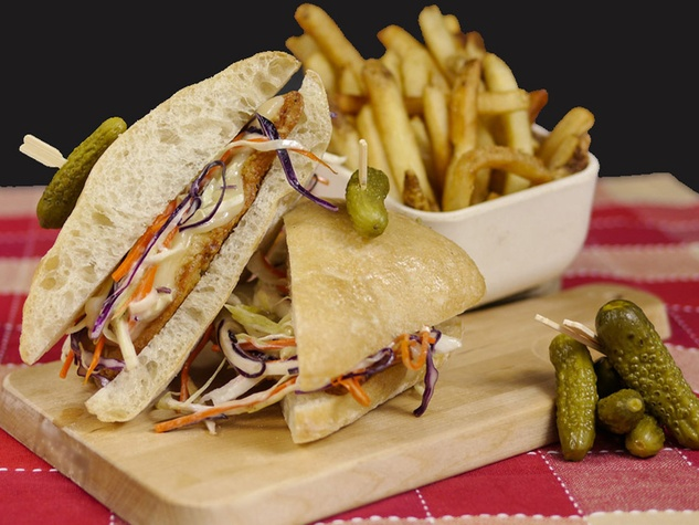 Funky Chicken Houston sandwich with French Fries December 2013