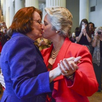 Annise Parker and Kathy Hubbard at wedding reception March 2014