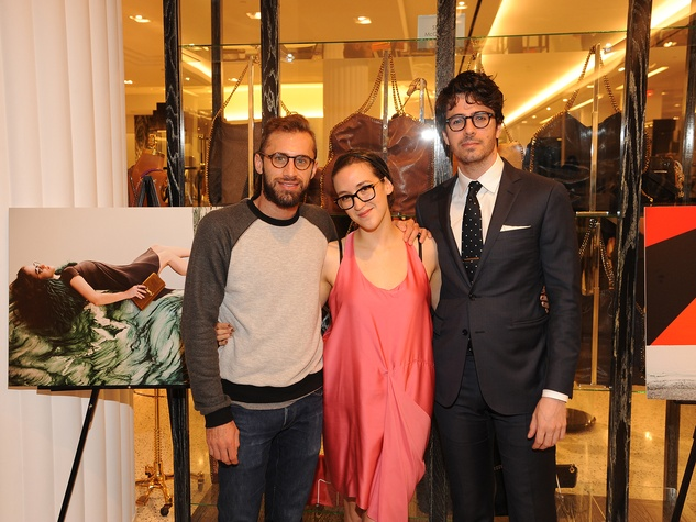 12 Michael Mandola, from left, Cecilia Marquez and Ian Wells at The Orange Show's A Couture Cause party