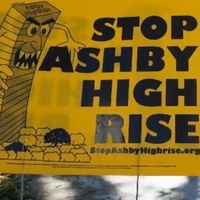 Stop Ashby highrise high-rise sign with mean tower