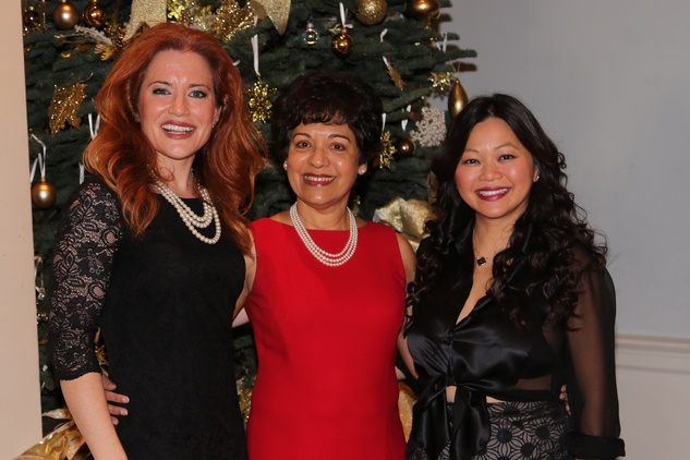2 Ingrid Vanderveldt, from left, Marie Goradia and Chloe Dao at the Chloe Dao luncheon for Pratham December 2014
