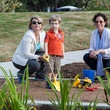 Susan Christian, Laura Spanjian and child at Mandell Park dedication August 21, 2014