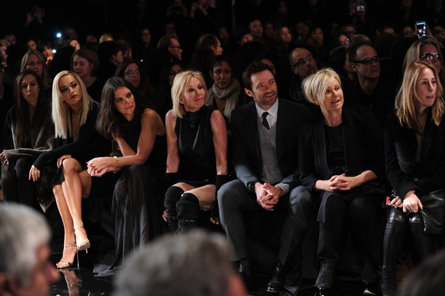 Rita Ora, Trudie Styler and Hugh Jackman at Donna Karan show February 2014