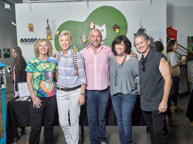 Participating artists in celebrity birdhouses, April Murphy, Chris Silkwood, Nicola Parente, Susan Tietz, Taft McWhorter at Sawyer Yards Artist Stroll