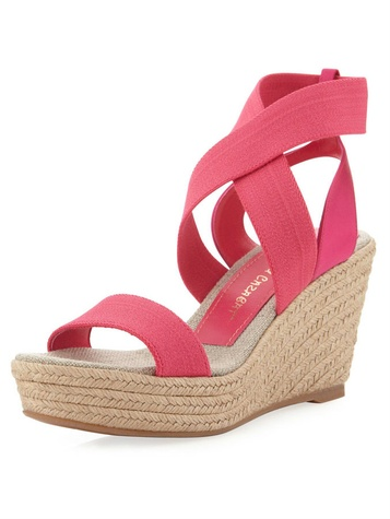 last call pink elastic wedge