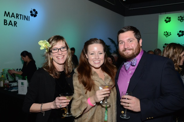 407 Elizabeth Kozlowski, from left, with Heather and John Schiappa at the Craft Museum Martini Madness party January 2015