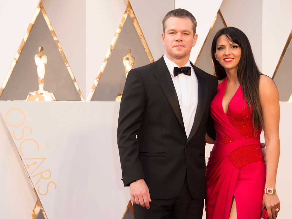 Matt Damon and wife at Oscars