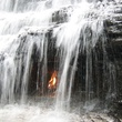 Chestnut Ridge Park waterfall and flame