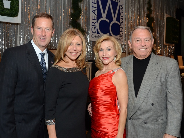 195 Jim Murphy, from left, Joan Huffman, Dana Kervin and Mike      Anzilotti at the Greater Houston Women's Hall of Fame Gala December 2013