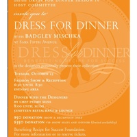"""Dress for Dinner & Dinner"" with Badgley Mischka benefiting Recipe for Success Foundation"